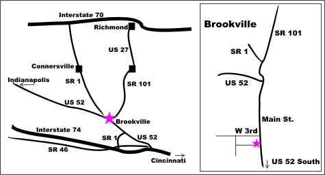 Map: Rock Garden Engraving, Brookville Indiana