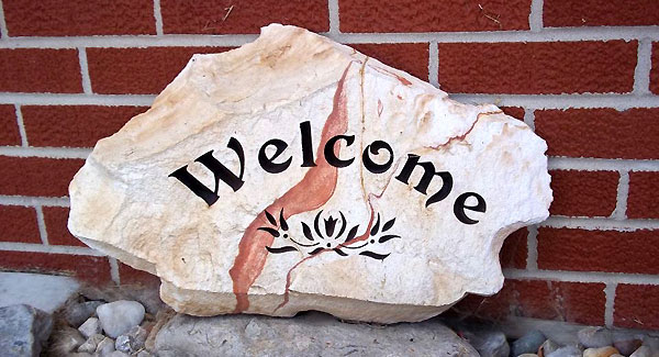 Rock garden engraving custom stone engraving and carved cedar rock garden engraving brookville indiana moms garden crock on porch welcome stone workwithnaturefo