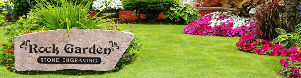 Rock Garden Engraving Custom stone engraving and carved cedar